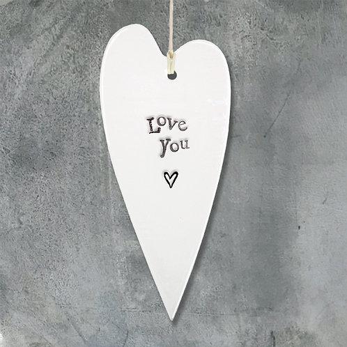 Porcelain Long Heart - Love you