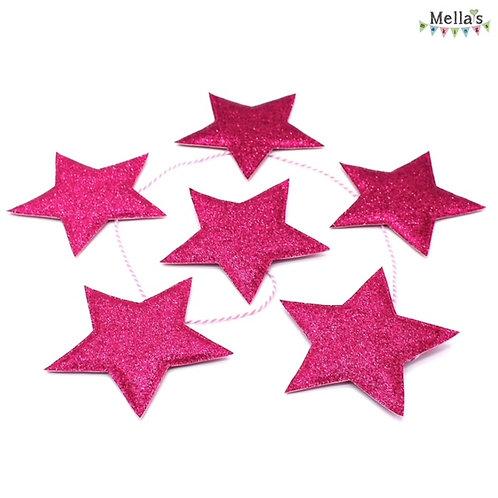 Sparkly Pink Star Bunting