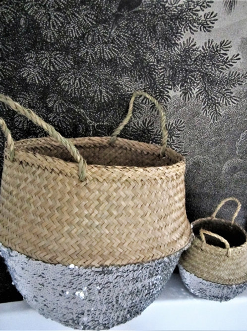 Rice Basket Sequin Silver