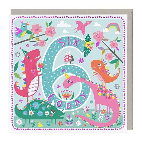 6 Today Dinosaur Party Children's Birthday Card