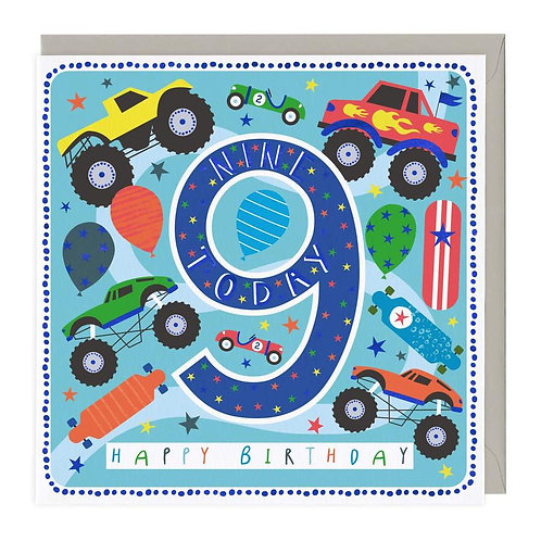 9 Today Monster Truck Children's Birthday Card