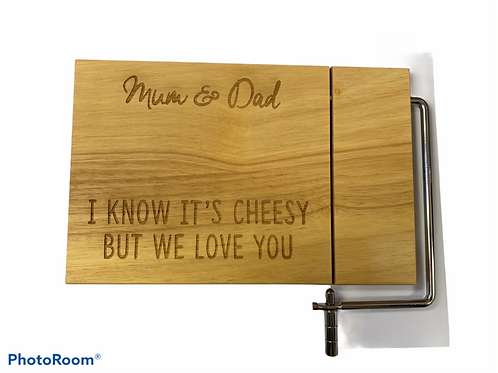 Cheese board with wire cutter