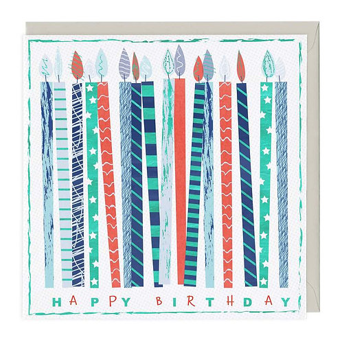 Happy Birthday Colourful Candles Card