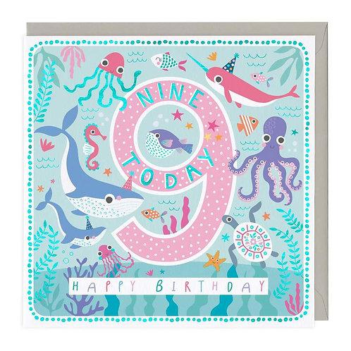 9 Today Sea Life Children's Birthday Card