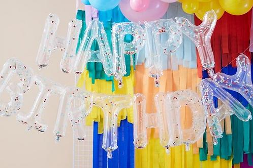 Rainbow Confetti Happy Birthday Balloon Bunting