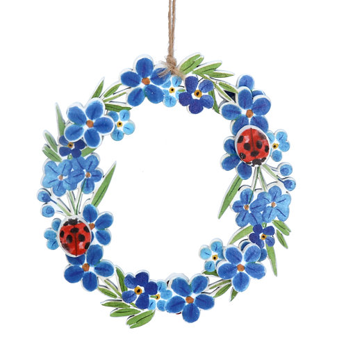 Forget me not Ladybird Cut out Wreath Decoration
