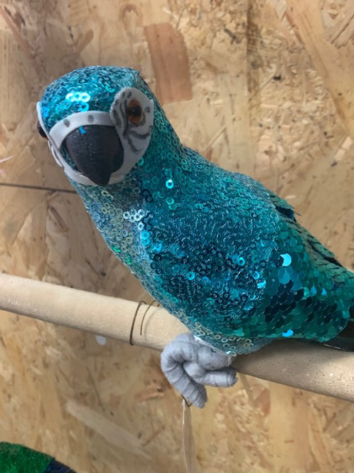 Blue/Green Sequin & Feather Parrot Decoration