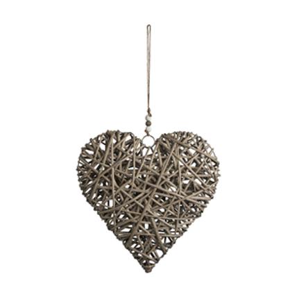 Grey Wash Wicker Heart