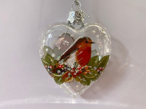Clear Glass Heart with Robin & Fruit