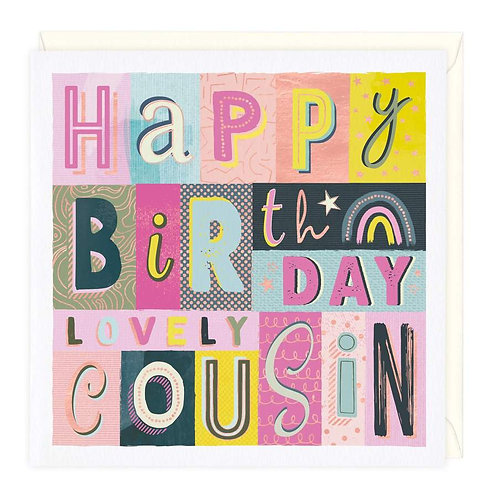 Rainbow Typography Lovely Cousin Birthday Card