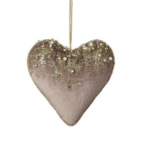 Velvet heart hanger
