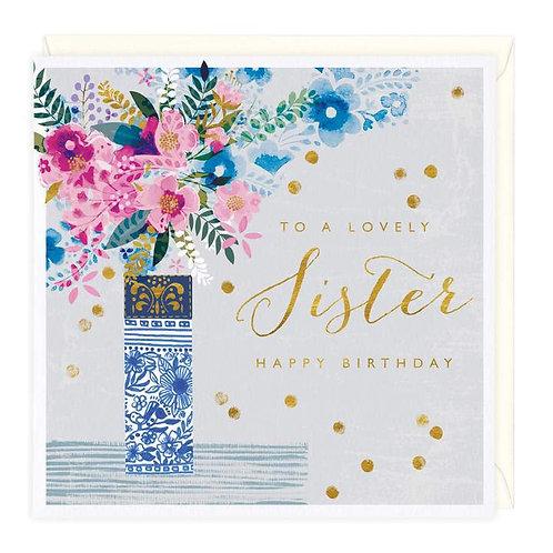 Floral Vase Lovely Sister Birthday Card
