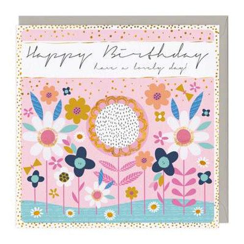 Flower Bed Birthday Card
