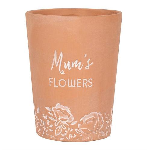 Mum's Flowers Terracotta Vase