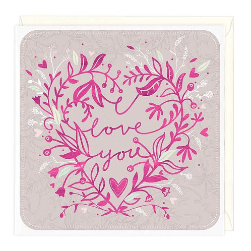 Floral I Love You Card