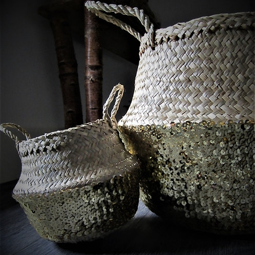 Rice Basket Sequin Gold