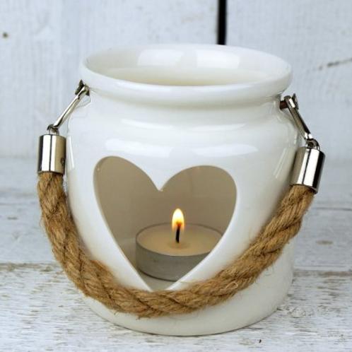 Large White Heart Lantern