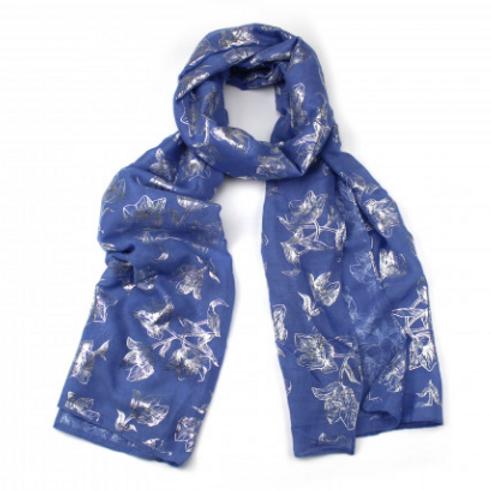 Blue Foil Flower Scarf
