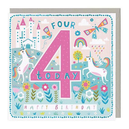 4 Today Prancing Unicorns Children's Birthday Card