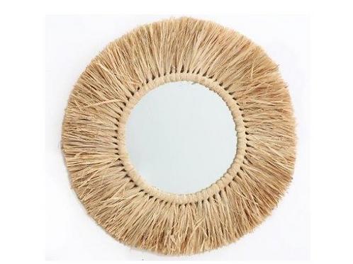Round Dried Grass Mirror