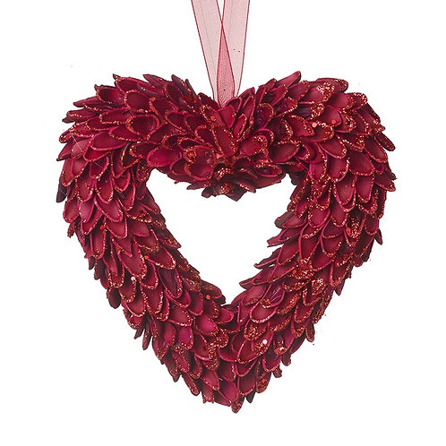 Hanging Red Heart Wreath