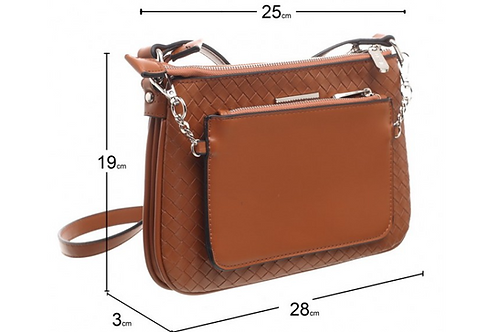 Faux Leather Crossbody Bag With Pouch