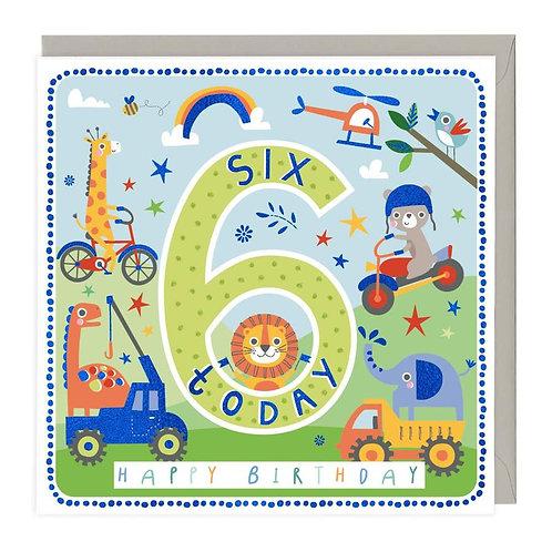 6 Today Playful Animals Children's Birthday Card