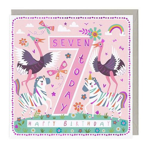 7 Today Safari Party Children's Birthday Card