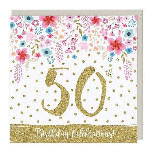 50th Birthday Celebrations Glitter Card