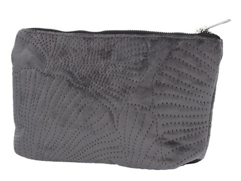 Grey Quilted Velvet Ginkgo Pouch