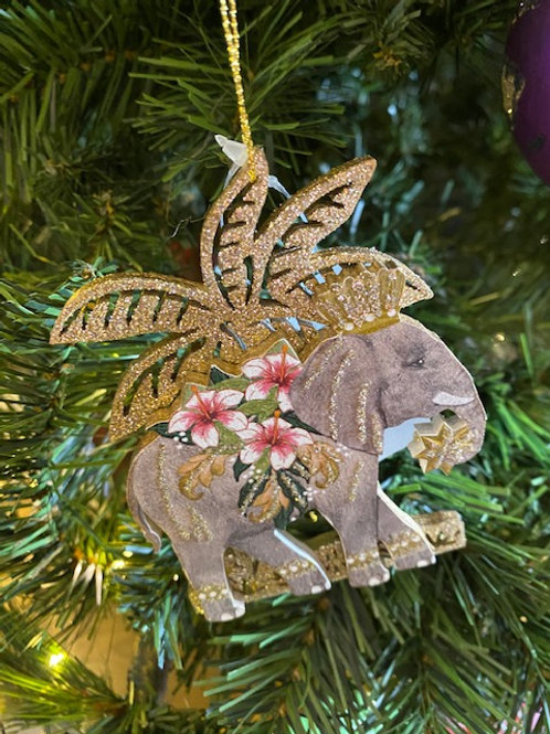 Wooden Animal with Glitter Palm Tree Decoration