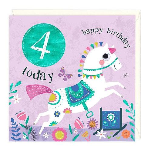 4 Today Horse Children's Birthday Card