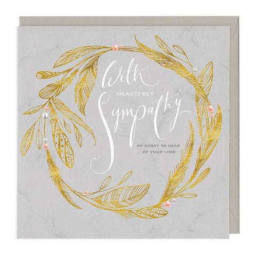 Golden Wreath Deepest Sympathy Card