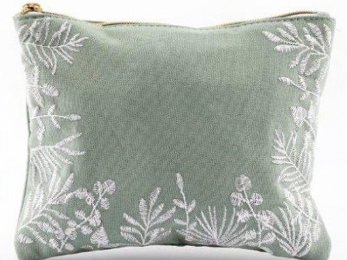 Olive Grove Embroidered Make Up Bag