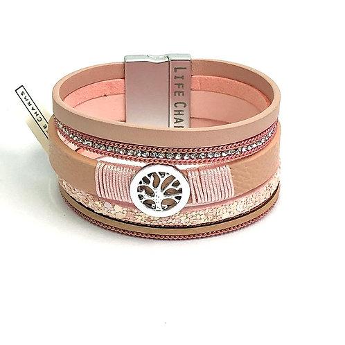 6 Row Pink Wrap Bracelet