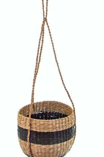 Black Stripe Seagrass Hanging Planter