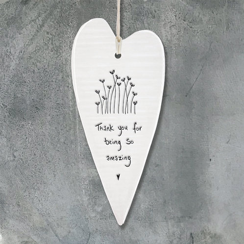 Long porcelain heart - Thank you for being so amazing