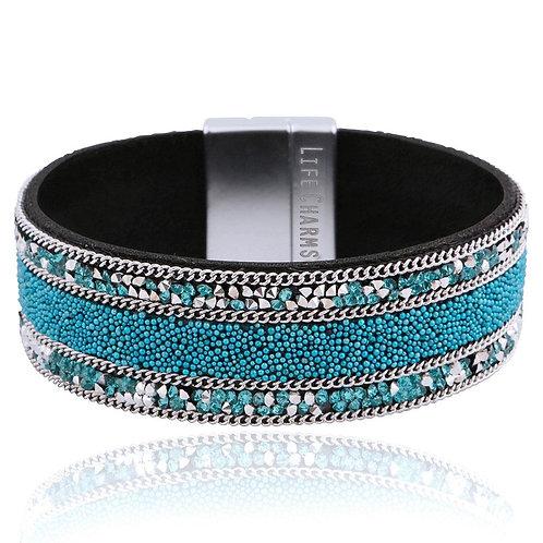 Blue and Silver Crystal Wrap Bracelet