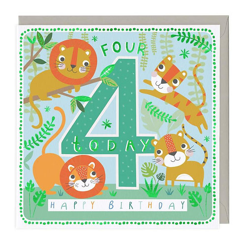 4 Today Cute Big Cats Children's Birthday Card