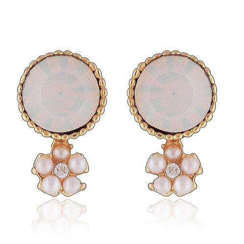 Milky Gemstone Stud Earrings with Daisy Pearl Drop