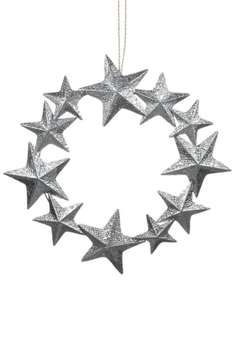 Silver Starfish Tin Wreath