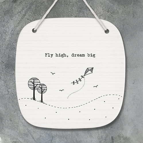 East of India Porcelain Hanging Ornament - Fly High