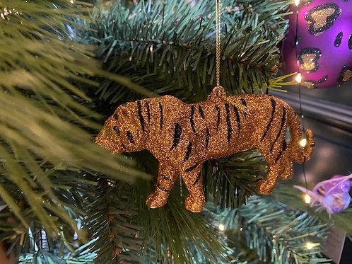 Gold Glitter Tiger Tree Decoration