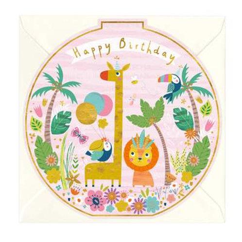 Jungle Friends Round Birthday Card