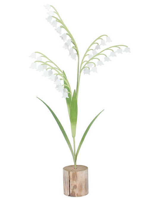 Metal Lily of the Valley on Log ornament