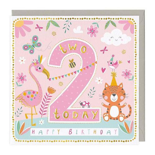2 Today Cheerful Animals Children's Birthday Card