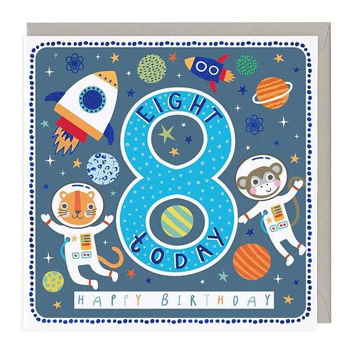8 Today Space Animals Children's Birthday Card