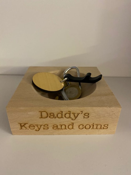 Personalised Wooden Keys and Coin Tray