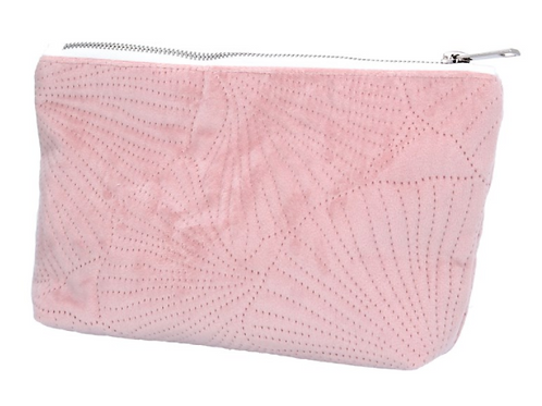 Pink Quilted Velvet Ginkgo Pouch