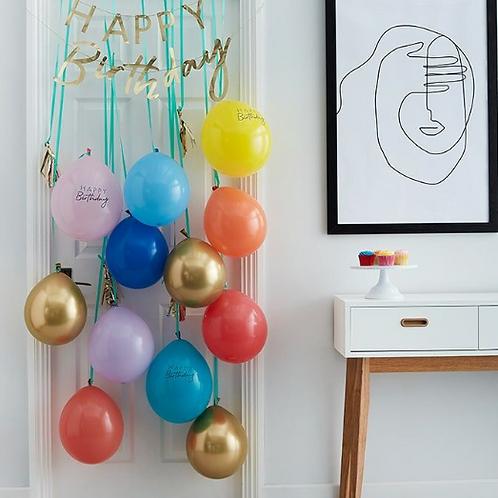 Rainbow & Gold Happy Birthday Balloon Door Kit